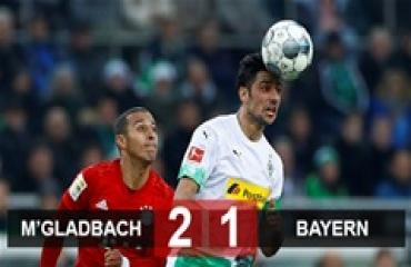 M'Gladbach 2-1 Bayern: Thua trận thứ 2 liên tiếp, Bayern bị M'Gladbach 'cắt đuôi'