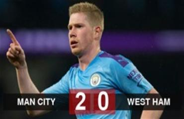 Man City 2-0 West Ham: Man City kiên trì bám đuổi Liverpool