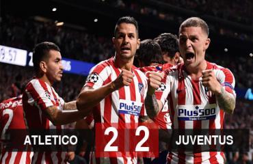 Atletico Madrid 2-2 Juventus: Chủ nhà may mắn giữ được 1 điểm