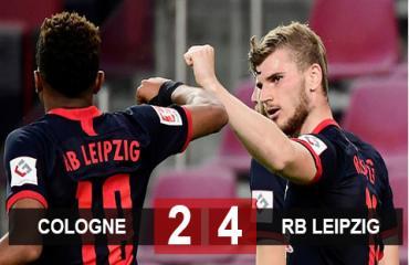 Cologne 2-4 RB Leipzig: Werner nổ súng, RB Leipzig đòi lại vị trí thứ 3