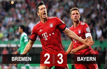 Bremen 2-3 Bayern: Lewandowski bắn hạ Bremen, Bayern hẹn Leipzig ở CK cúp QG Đức