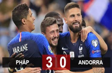 Pháp 3-0 Andorra: Vắng Pogba, Griezmann mờ nhạt, chủ nhà vẫn có chiến thắng