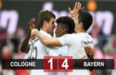 Cologne 1-4 Bayern: Hùm xám giành 3 điểm chỉ sau 12 phút