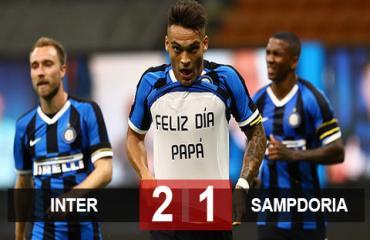 Inter 2-1 Sampdoria: Lautaro & Lukaku khai hỏa, Inter tái xuất tưng bừng