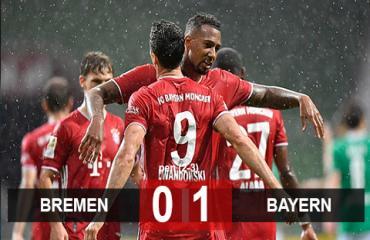 Bremen 0-1 Bayern: Hạ Bremen trong thế thiếu người, Bayern vô địch Bundesliga mùa thứ 8 liên tiếp
