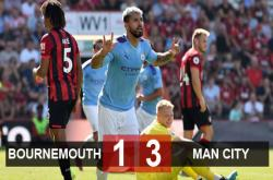 Bournemouth 1-3 Man City: The Citizens vươn lên ngôi nhì bảng