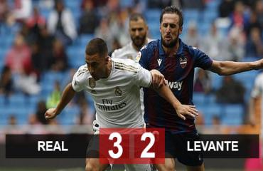 Real 3-2 Levante: Kền kền suýt mất điểm trước 'gã tí hon'