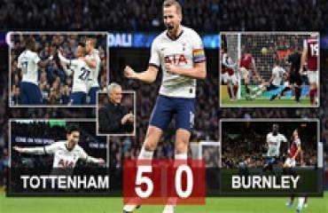 Tottenham 5-0 Burnley: Thầy trò Mourinho trút giận