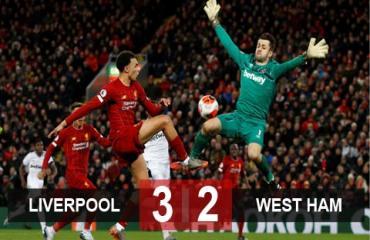 Liverpool 3-2 West Ham: Thần may mắn mỉm cười với chủ nhà