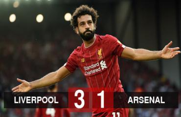 Liverpool 3-1 Arsenal: Salah lập cú đúp, Liverpool độc chiếm ngôi đầu bảng