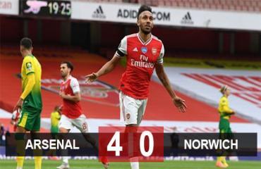 Arsenal 4-0 Norwich: 'Sân khấu' của Aubameyang