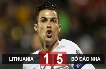 Lithuania 1-5 Bồ Đào Nha: Ronaldo lập poker, BĐN giữ nguyên khoảng cách với Serbia