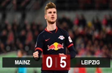 Mainz 0-5 Leipzig: Werner lập hat-trick, Leipzig làm nóng cuộc đua vô địch với Bayern và Dortmund